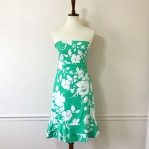 ANTHROPOLOGIE Green White Floral Strapless Dress